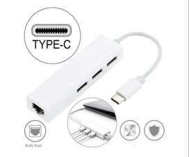 Usb Tipo C A 3 Puertos Hub 2.0 Y Adaptador Ethernet 10/100