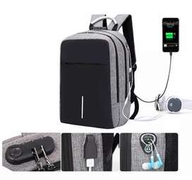 Mochila Antirrobo Impermeable Anticorte Carga Usb