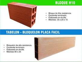 Venta de bloque h10 y bloquelón placa fácil