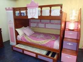 Litera Princesa 3 camas con closet