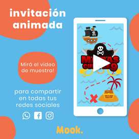 Piratas Invitación Animada en Video