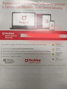 Antivirus McAfee para tres 3 computadoras, smartphones o tables