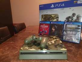 SONY PLAYSTATION 4 SLIM VERDE CON 3 JUEGOS