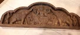 cuadro tallado en madera en relieve indu