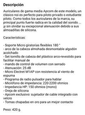 Auriculares para piloto/ headsets