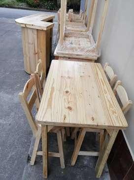 Juego Mesa y silla en Pino Mesita asiento barra madera comedor para negocio bar restaurante mesas asientos sillas