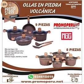 JUEGOS DE OLLAS EN PIEDRA VOLCANICA
