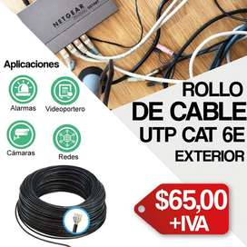CABLE CAT 6. EXTERIOR. CABLE UTP. CABLE 8 HILOS. CABLE NEGRO.