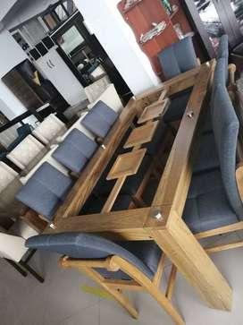 Juegos de comedor de 8 sillas en madera