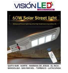 Reflector Lampara Led Solar 60w Para Poste Alumbrado Publico