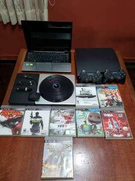 SUPER PACK!!! LAPTOP+PS3 160GB+TORNAMESA DJHERO2+MANDO+JUEGOS FÍSICOS E INTERNOS.
