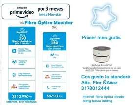 Internet Fibra Óptica Movistar desde 80mg hasta 300mg, tv y telefonía fija ilimitada Nacional