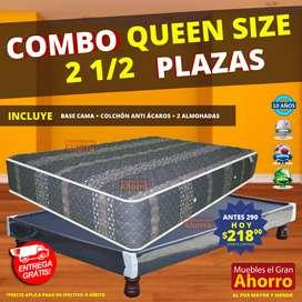 COMBO Queen  Base Cama Dos y media Plazas MAS Colchón Anti Ácaros * Garantía 10 años *