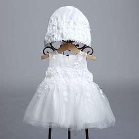 Vestido Bebe Agnes Niña Bautizo Fiesta Damita Blanco Perú Tala 3 a 6 meses