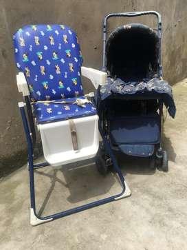 Cochecito de bebé y silla de comer