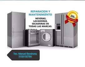 Reparacion, mantenimiento e instalacion de neveras, nevecones, lavadoras, secadoras y aires acondicionados