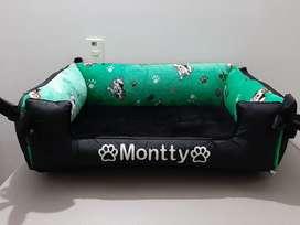 Cama para perro tipo sofá  + cojin de hueso