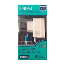 Cargador Usb 5v A 3.1a + 2 Usb Inova