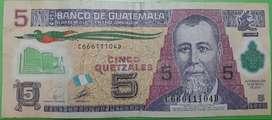Billete de 5 quetzales de guatemala para coleccion
