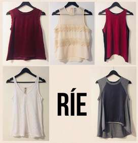 5 Remeras Top Rie Talle S y M x 1700
