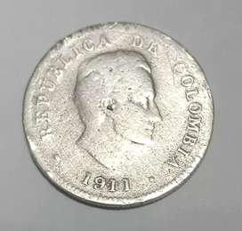 Vendo moneda de 10 centavos de 1911 ley 900 de plata