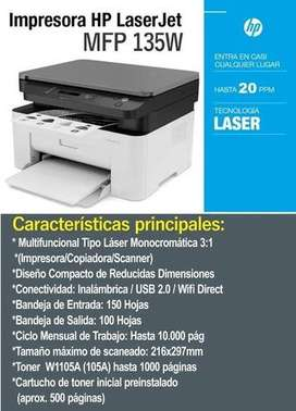 Impresora Hp Laser 135w + OBSEQUIO