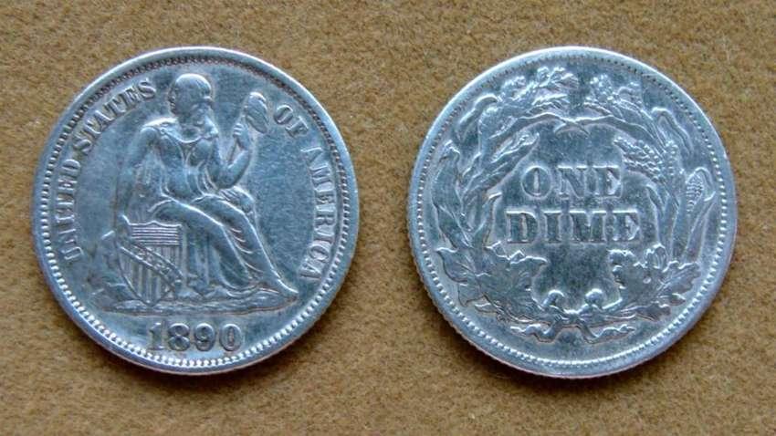 Moneda de 1 dime de plata Estados Unidos 1890 0
