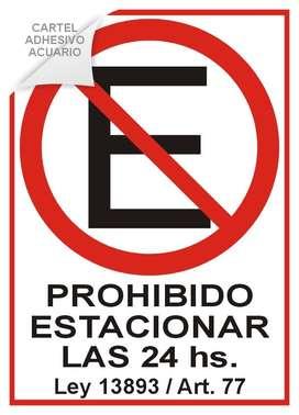Cartel Prohibido Estacionar 24 Hs - Calco Adhesivo A4 21 X 29