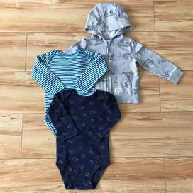 CAMPERA Y DOS BODIES CARTER'S, TALLE 18 MESES.