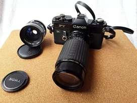Conjunto de cámara Fotográfica Antigua Canon Referencia FT  de Rollo y Dos Lentes intercambiables