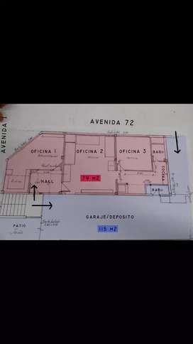 Oficinas con depósito y garaje. VENDO / ALQUILO. 194m2. Planta subsuelo. Avenida 1 equina 72