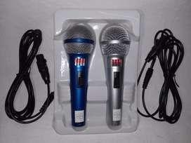 (1092) 2 Microfonos Alambricos Cable Para Karaoke Profesional