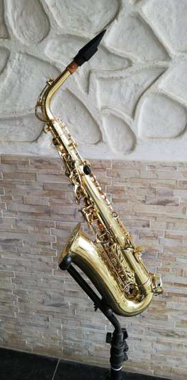 Saxofón alto dorado merano con estuche