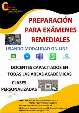 Clases On-Line PREPARAMOS PARA EVALUACIONES REMEDIALES