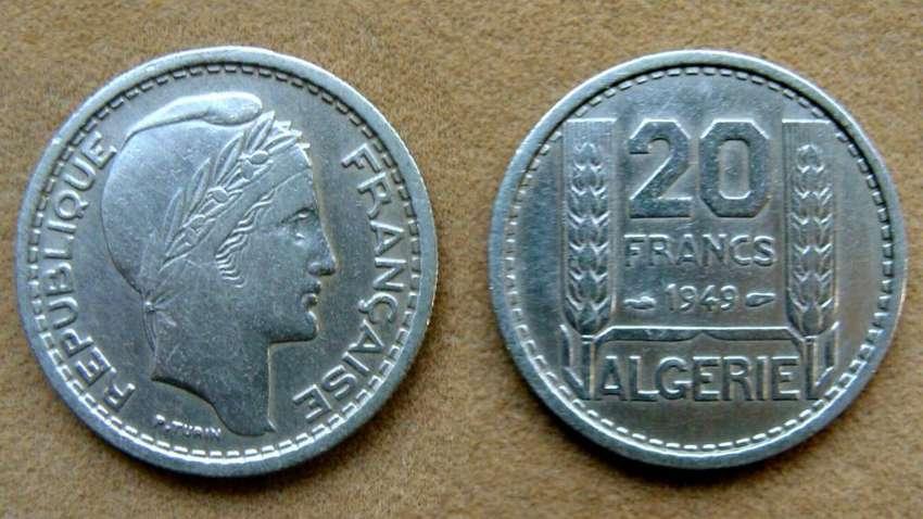 Moneda de 20 francos Argelia ocupación Francesa 1949 0