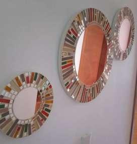 Hermoso juego de espejos color tierra
