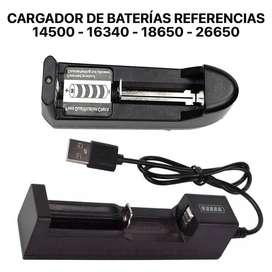 ADAPTADOR O CARGADOR INTELIGENTE DE BATERÍAS 14500 - 16340 - 18650 - 26650 TIPO USB LED PARA BATERÍAS RECARGABLES LI-ION