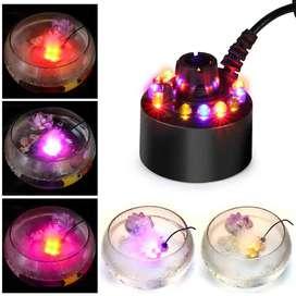 Humidificador aire ultrasónico 12 LED Humidificador de aire ultrasónico Mist Maker Fogger Water Atomizer Fountain Pond