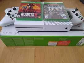 Xbox one s 1tb como nueva, caja 2 controles, 4juegos físicos