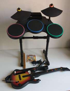 Para Nintendo Wii - Bateria + Microfono + Guitarra - TODO Guitar Hero Original