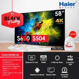 "Televisor TV Haier Smart TV 58"" Pulgadas 4K  HDR, UHD Asistente de Google, Android 9.0, Streaming  Netflix, Youtube Cast"