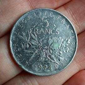 Francia 5 Francs 1974 - Moneda