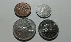 Lote Cuatro Monedas de Canada Antiguas