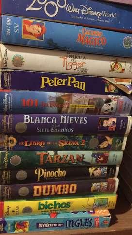 Videos y peliculas en VHS: infantiles, de idiomas, gimnasia, etc