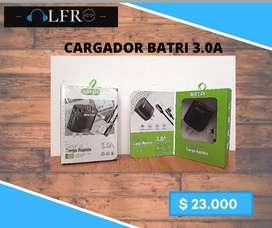 Cargador 3A (Carga rápida) + Cable V8 / Color negro