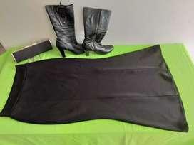 Vendo falda, cartera y botas en piel ante