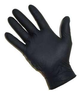 Guantes De Nitrilo Color Negro X 2u Sin Polvo Reforzados