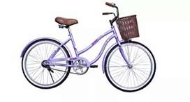 Bicicleta con canasta y parrilla para mujer