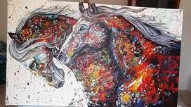 Cuadro de caballos al oleo