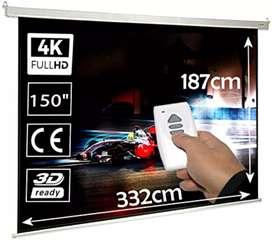 Pantalla Electrica para proyector 150 pulgadas 16:9 control remoto